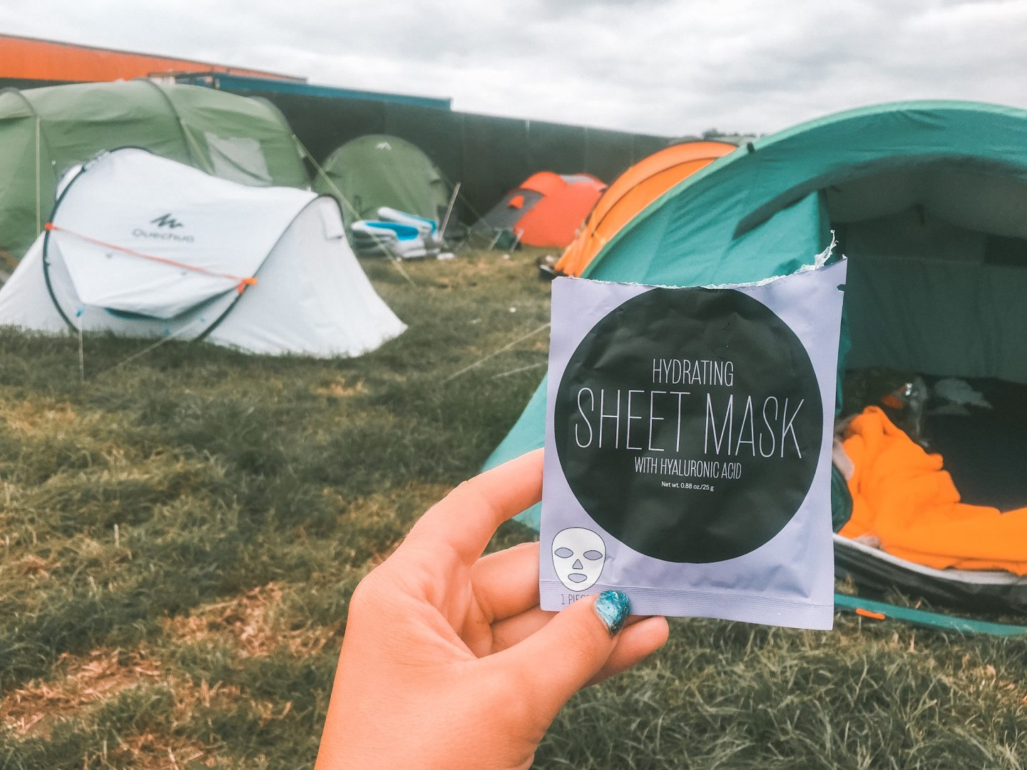 Face mask at a camping music festival