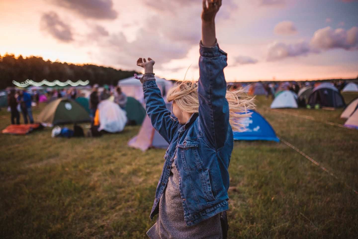 camping at a music festival