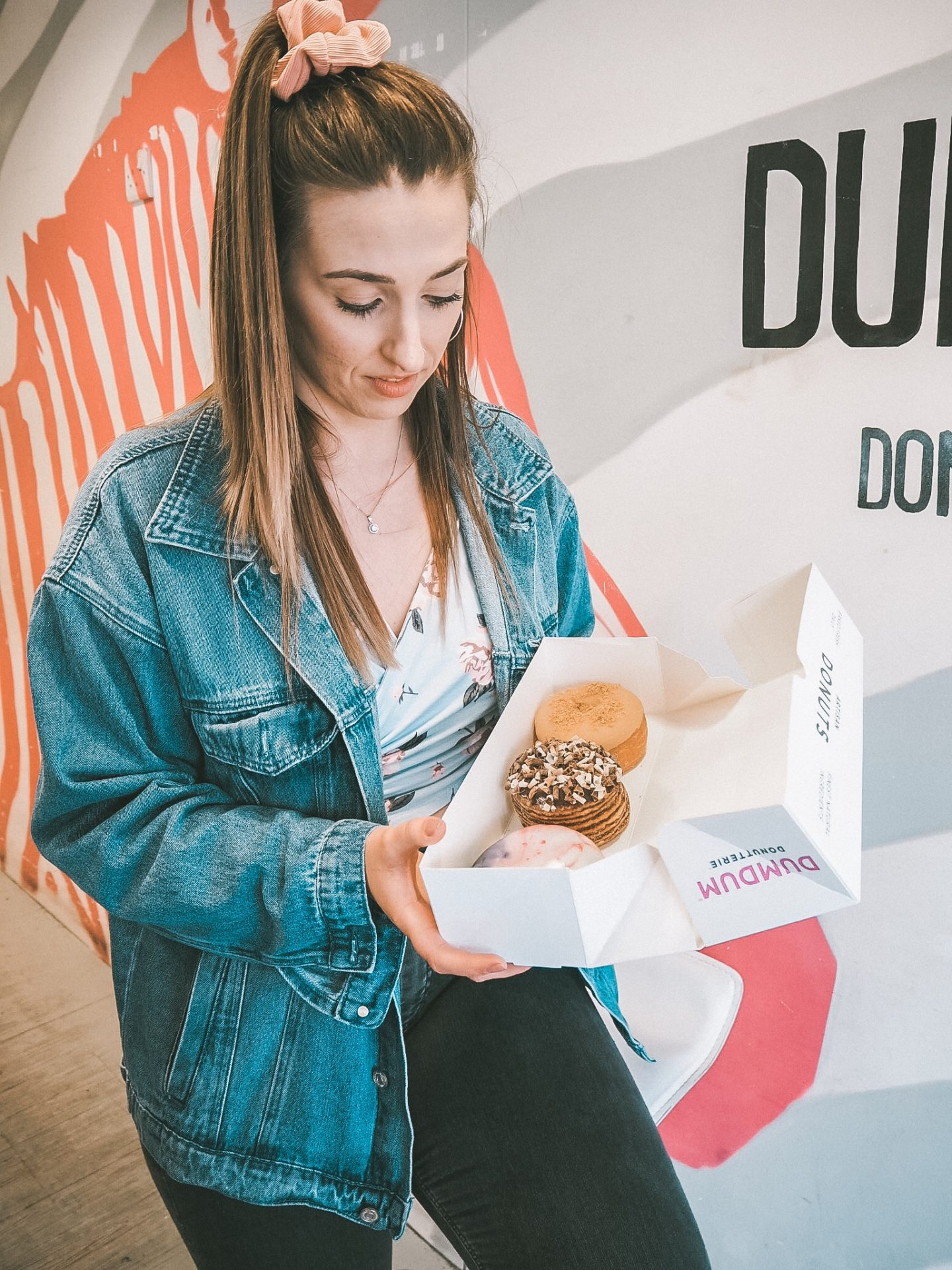 Box of three doughnuts from dum dums