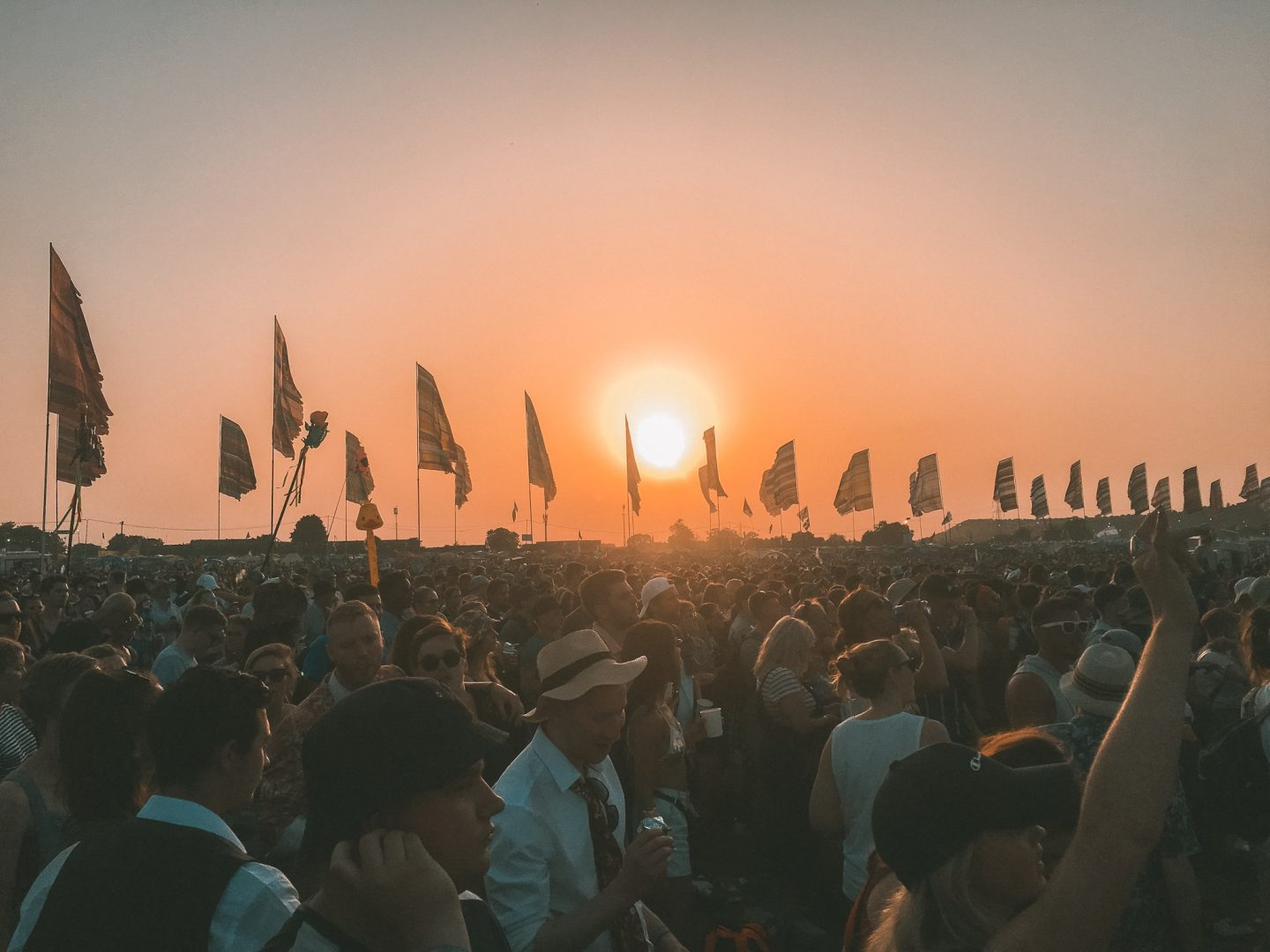 Sunset at Glastonbury festival