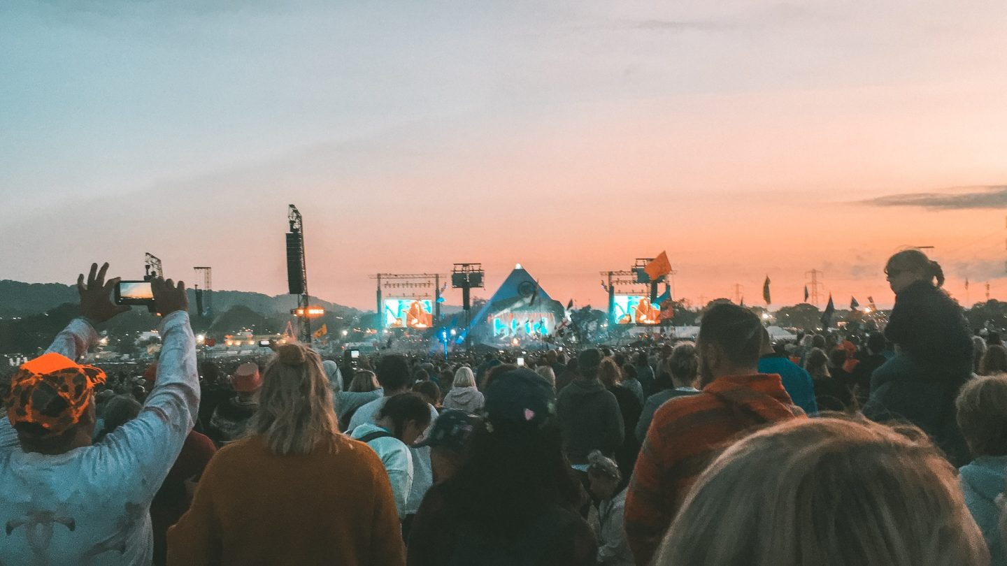 Sunset at glastonbury pyramid stage watching the killers