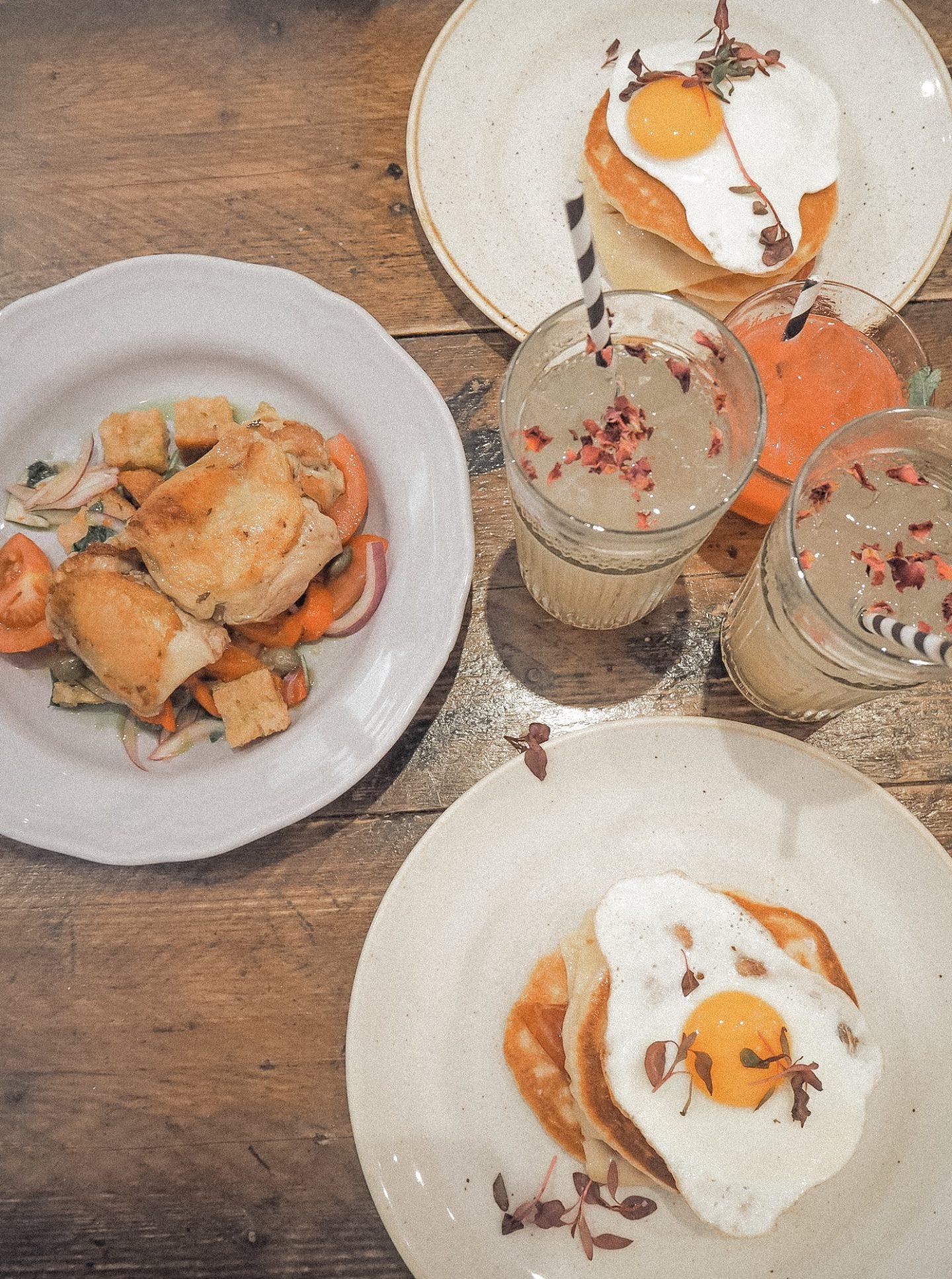 Flatlay of savoury pancakes