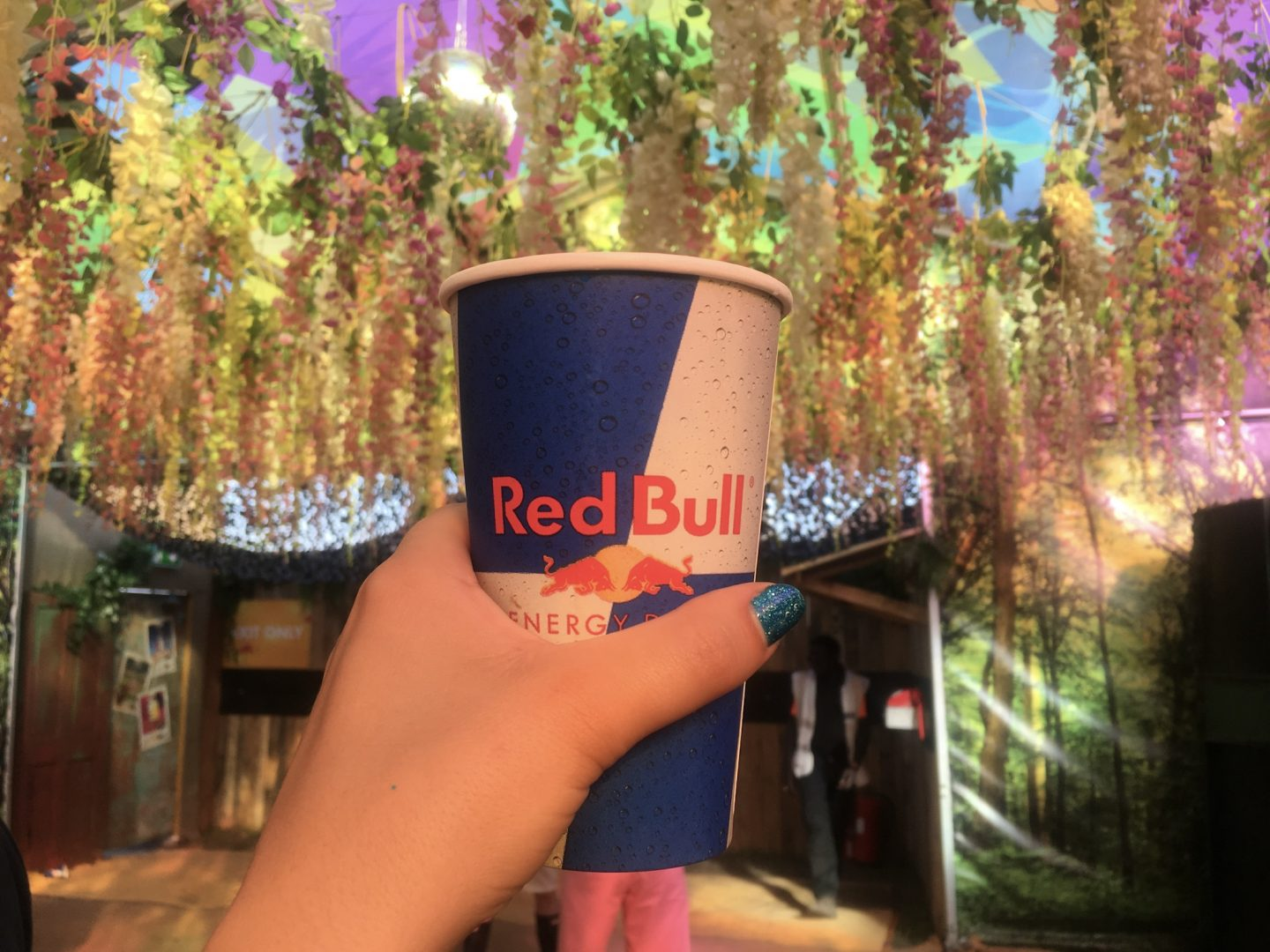 Tropical rumble cocktail at secret Redbull bar at Creamfields festival