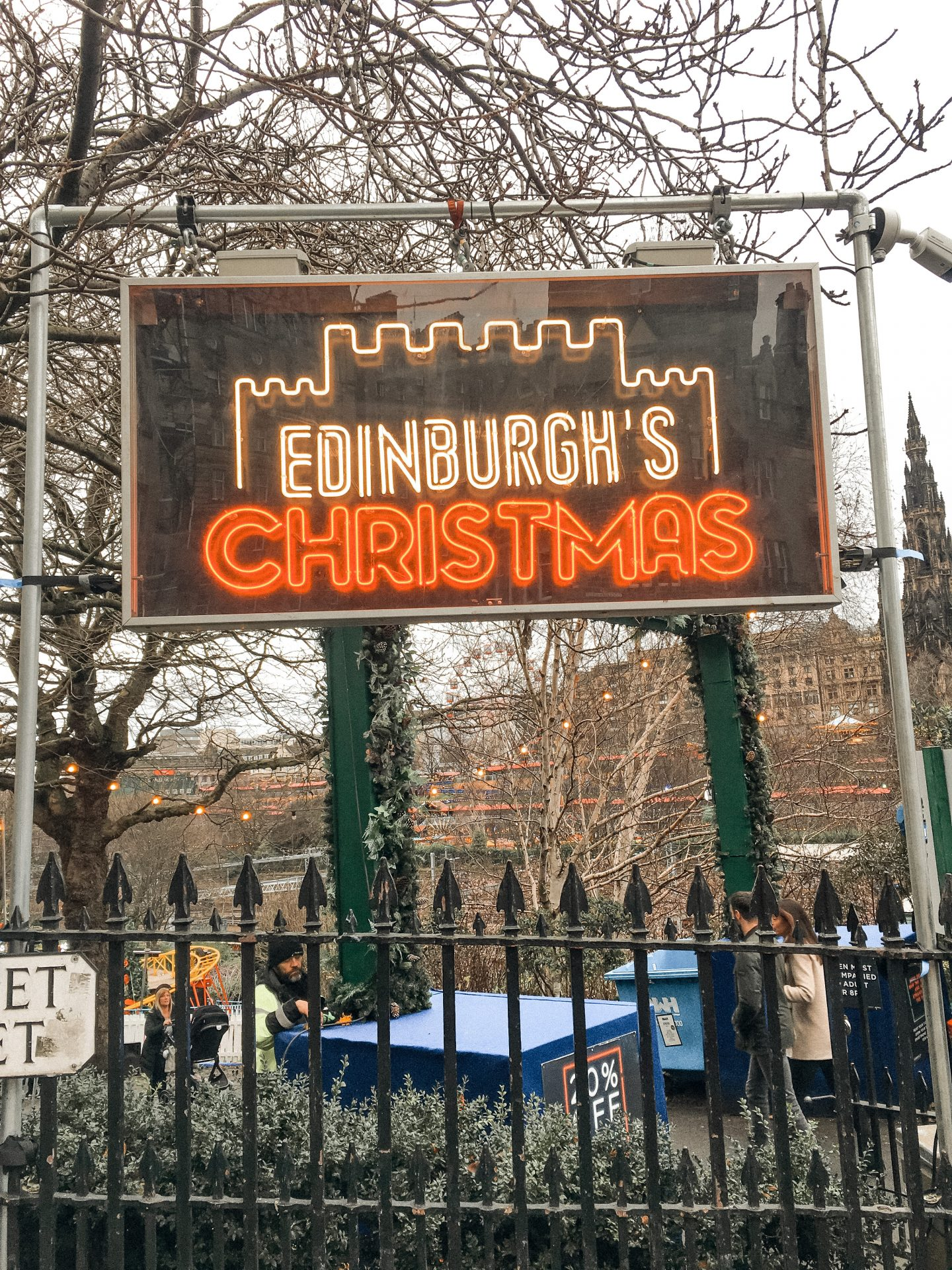 Edinburgh Christmas market sign