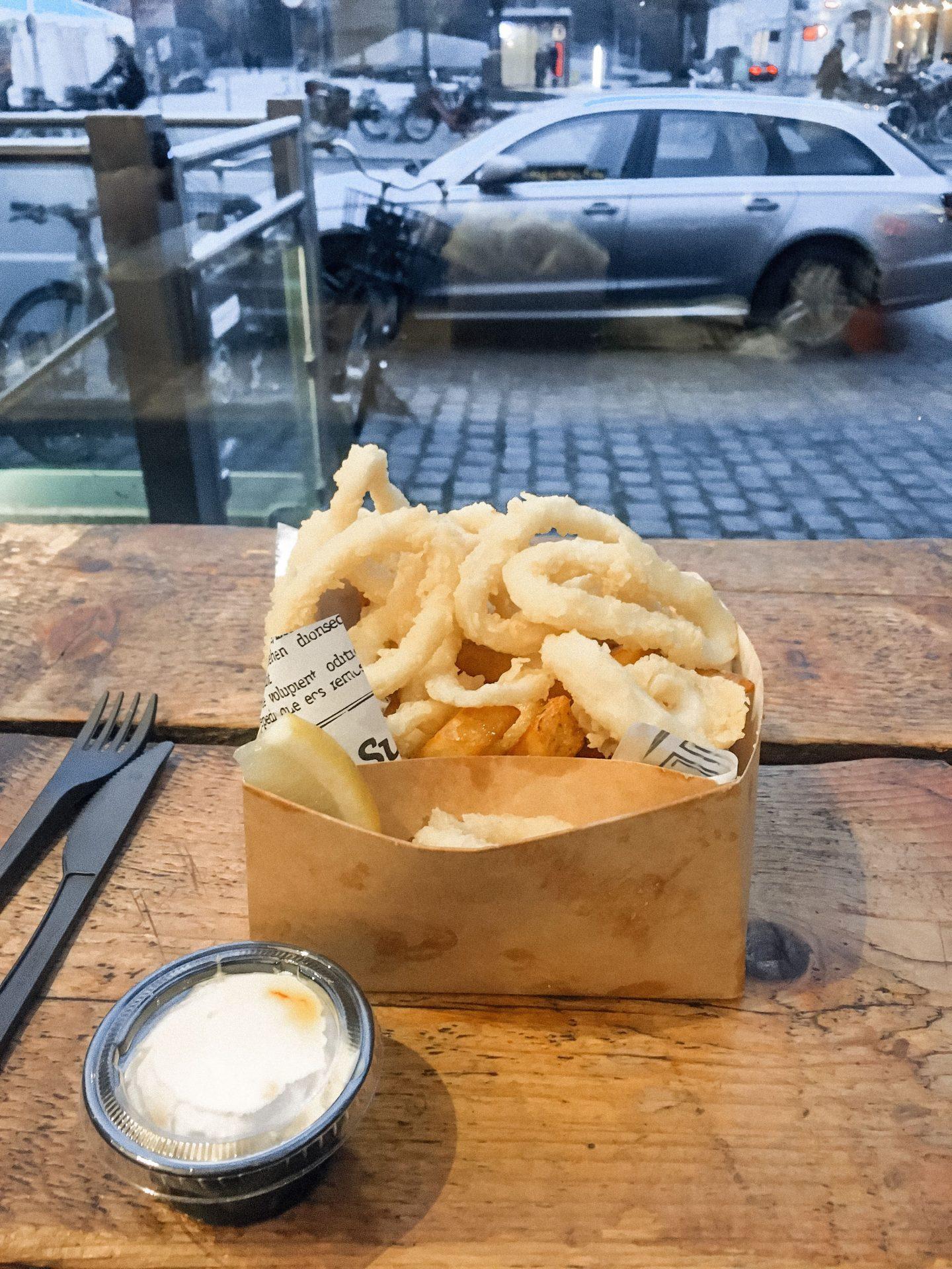 Calamari from Torvehallerne Food Hall in Copenhagen