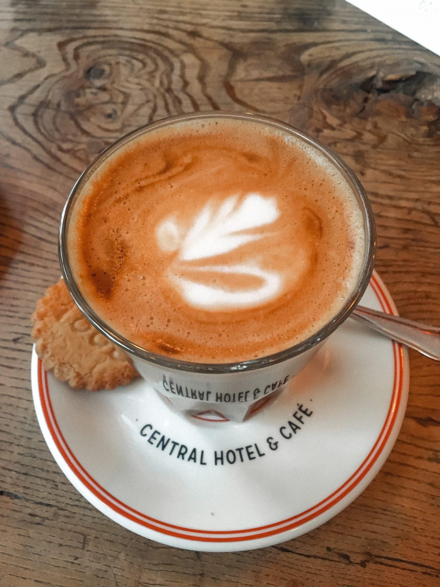 latte at Central Hotel & Café