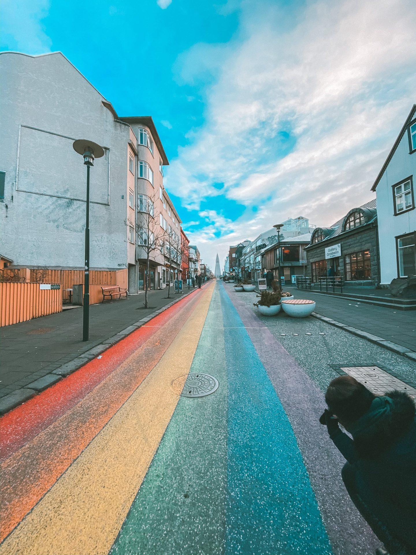 Rainbow street in Iceland