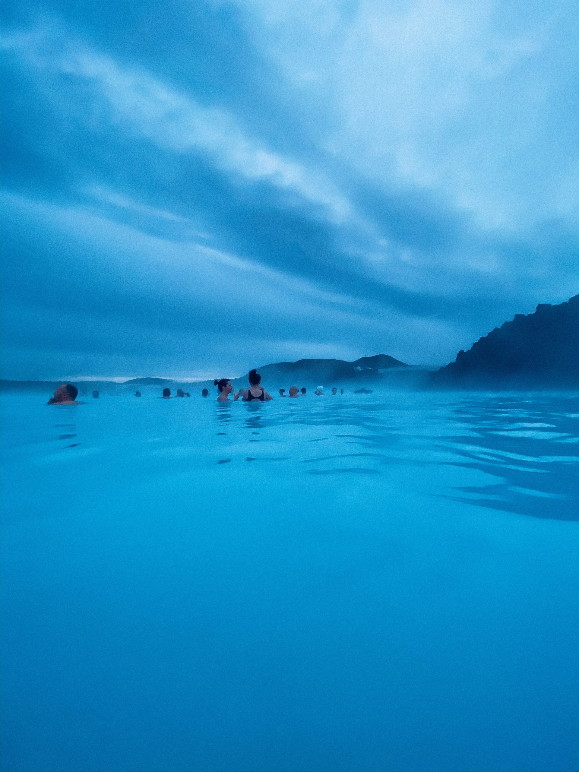 Blue lagoon in Iceland in the dark