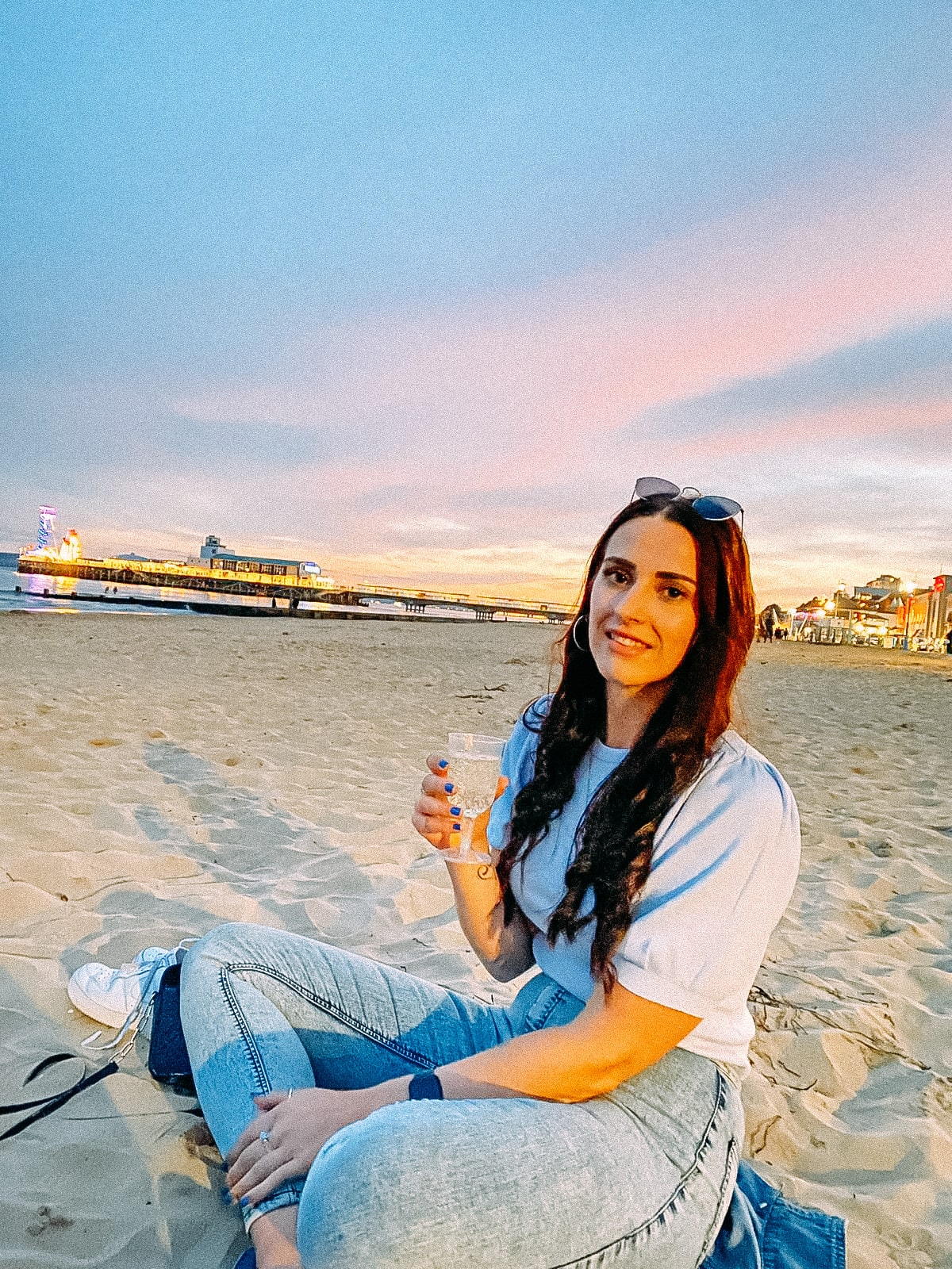 Prosecco on Bournemouth beach at sunset