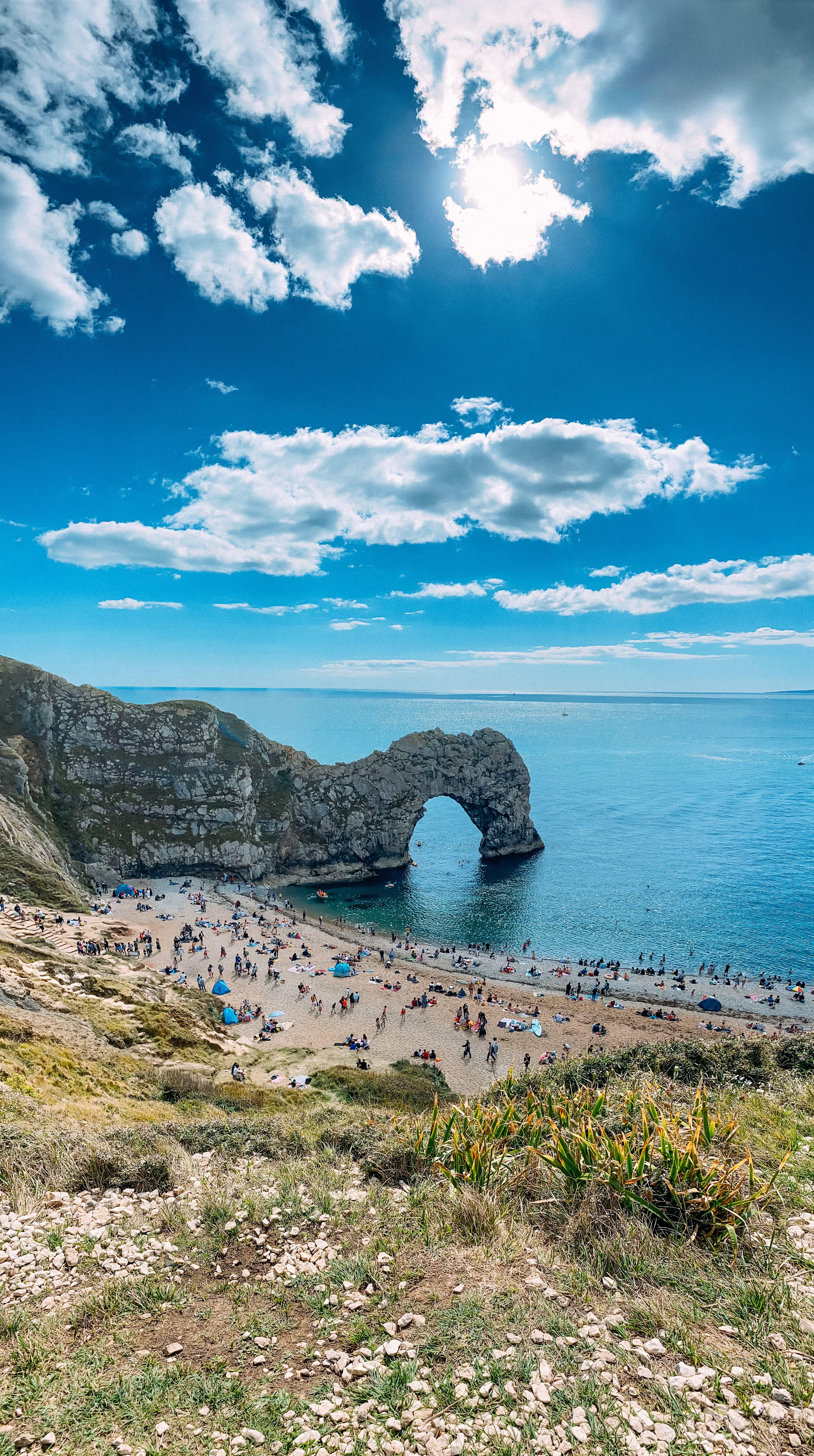 durdledoor, dorset UK during the summer with blue sky