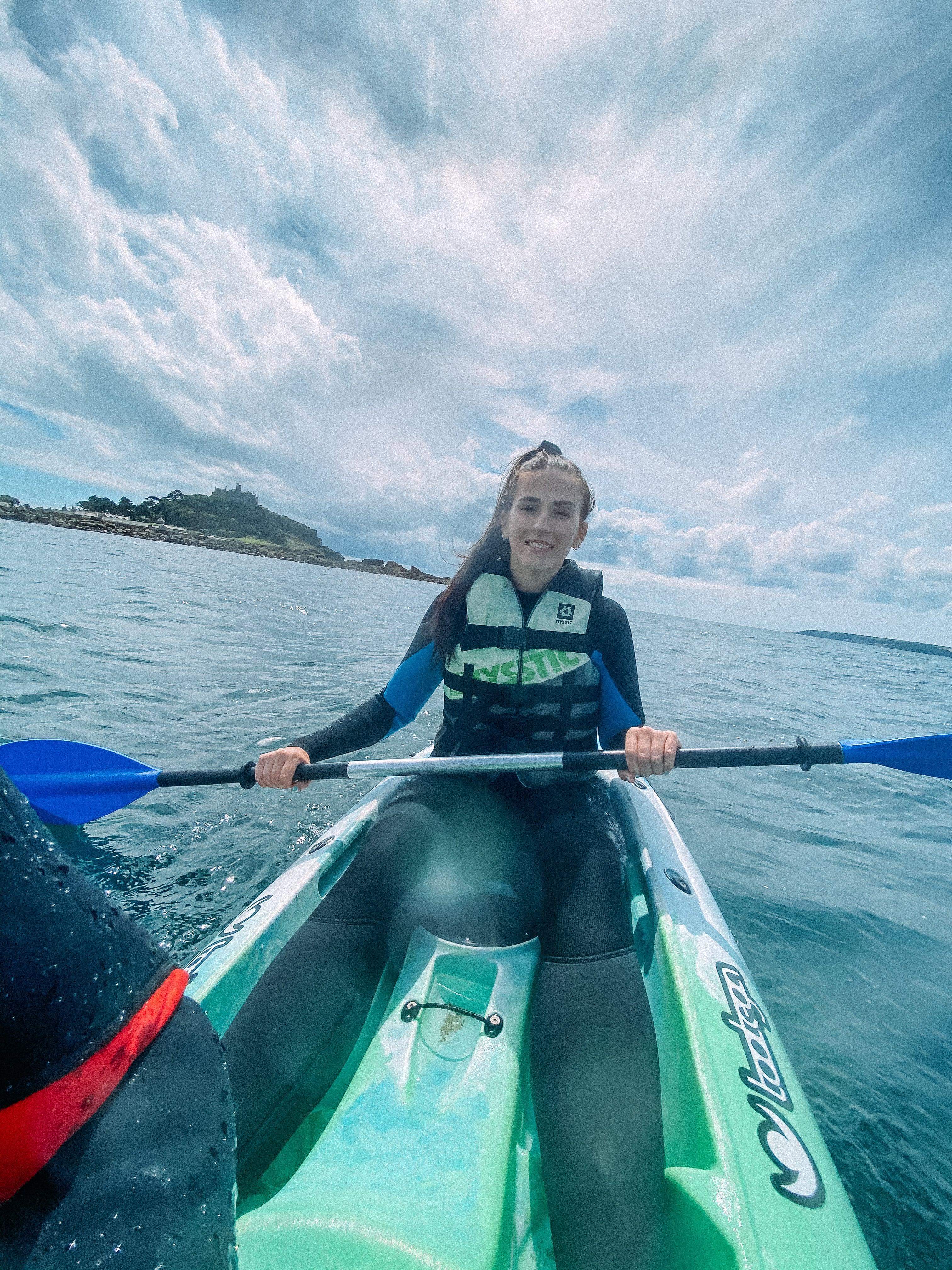 Kayaking around St Michaels Mount, Cornwall